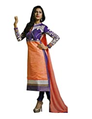 Shiva Collections Women's Straight Unstitched Salwar Suit (Peach)