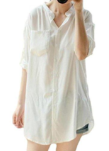 Amazon.co.jp: 【AFH】 ロング 丈 Yシャツ 袖口 ロールアップ シンプル デザイン (XL): Amazonファッション