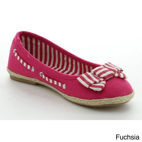 Jelly Beans Rebe Youth Kid'S Girls Slip On Bow Ballet Flats Fabric Casual Shoes, Color:Fuchsia, Size:1