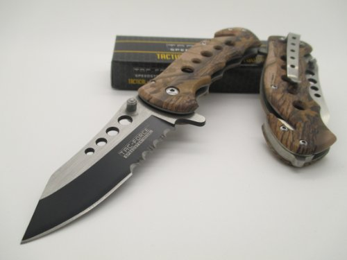 TAC-FORCE Assisted Opening Linerlock Belt Clip Brown Camo Design A/O Speed Rescue Glass Breaker Knife / tf-498-bc1