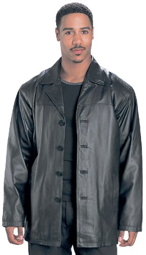 3/4 Length Mens Classic Leather Coats - Color : black - Size : Small