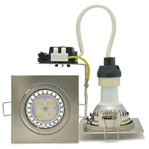 4-Pack Brillight 4W Energy Saving Led Square Brushed Chrome Recessed Downlight Kit, Warm White 3000 Kelvin