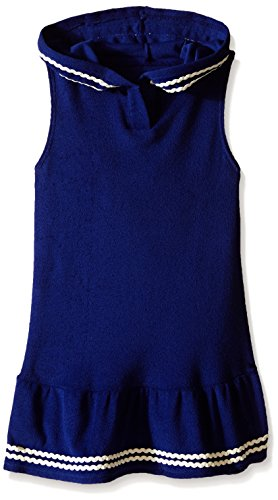 Hula Star Toddler Girls Cotton Cloud Terry Cover Up, Navy/Cream, Medium