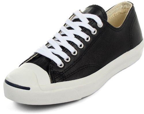 Converse Jack Purcell Leather Fashion-Sneakers, Black/White, 8 B(M) US Women / 6.5 D(M) US Men