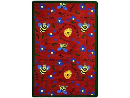 "Joy Carpets Kid Essentials Early Childhood Bee Attitudes Rug, Red, 5'4"" x 7'8"""