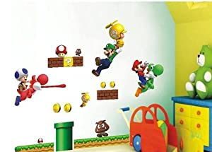 decus 1 bl super mario bros f r raumdekor entfernbare wiederverwendbare wandsticker. Black Bedroom Furniture Sets. Home Design Ideas