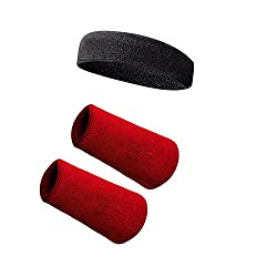 Red Sports All Weather And Washable Stuff Long Wrist Band And Black Head Band