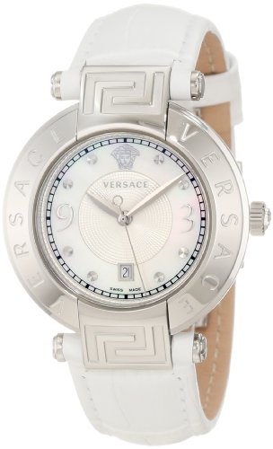Versace Women's 68Q99D498 S001 Reve Mother-Of-Pearl Dial Date White Leather Watch