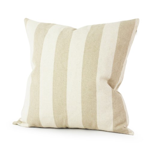 Lavievert Decorative Ramie Cotton Square Throw Pillow Cover Cushion Case Handmade Taupe and Khaki Stripe Toss Pillowcase with Hidden Zipper Closure 18 X 18 Inches (For Living Room, Sofa, Etc)