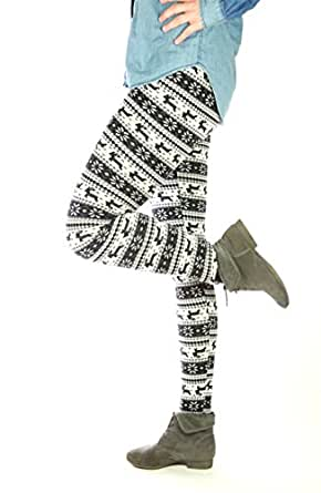 Tnt-Fashion Women's Winter Prints Norwegian Jeggings One Size Dou-01