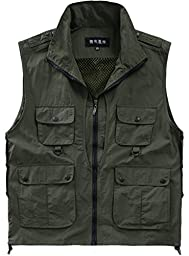 Alipolo New Outdoor Casual Quick-drying Extra Pockets Fishing Vest Green US M/Label M