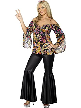 Ladies 1960s 1970s Hippie Hippy Flares Decades Hen Do Fancy Dress Costume Outfit Inc Plus Size