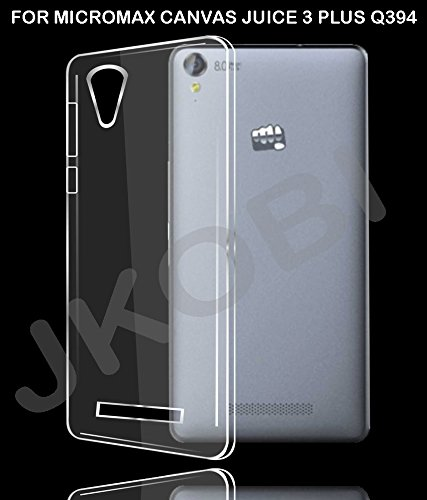 Stylabs Exclusive Soft Silicone TPU Jelly Transparent Crystal Clear Case Soft Back Case Cover For Micromax Canvas Juice 3+ Juice 3 Plus Q394  available at amazon for Rs.129