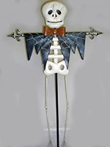 "SKELETON 64"" Metal Yard Stake Votive Holder Halloween Gothic Decor"
