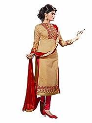 pakiza design attractive beige chanderi cotton partywear salwar suit dress material
