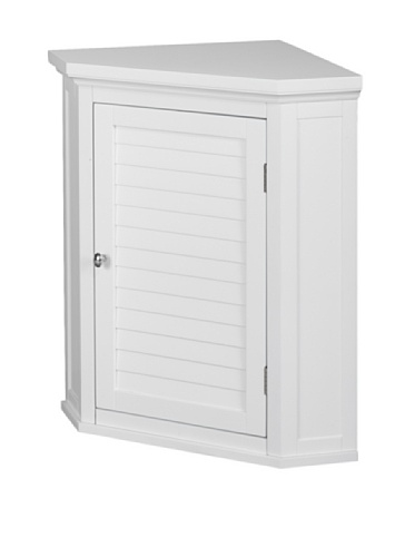 Elegant Home Fashions Sicily Corner Wall Cabinet with 1 Shutter Door, White (Linen Cabinet Corner compare prices)