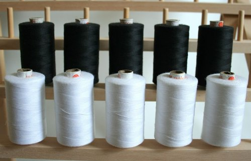 Lowest Prices! New ThreadNanny LARGE BLACK & WHITE Spools of 3-PLY Polyester Sewing Quilting Ser...
