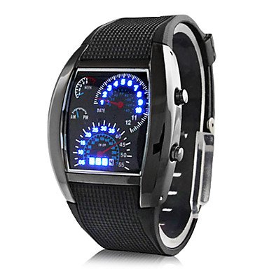 Men'S Rubber Digital Led Wrist Watch (Black)