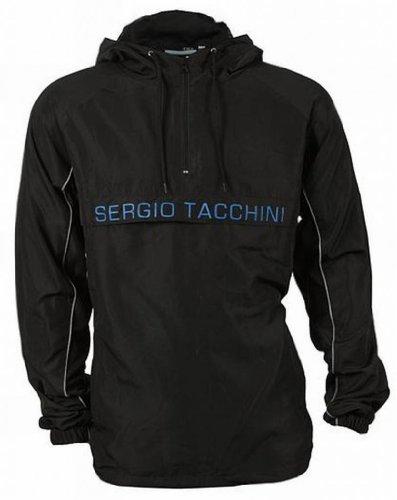 Sergio Tacchini Kilner Men's Lightweight Hooded Wind Rain Jacket black/blue Large