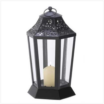 Gifts & Decor Jet Black Garden Candle Lantern Hurricane Style Lamp