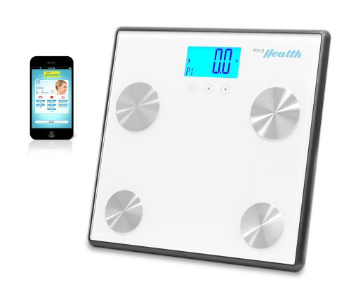 Pyle Health PHLSCBT4WT Bluetooth Digital Weight Personal Health Scale with Wireless Smartphone Transfer, White