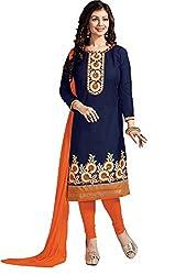 Krishna Emporia Women's Blue Salwar Suit Dupatta Dress Material (Ayesha Takia Dress Material)