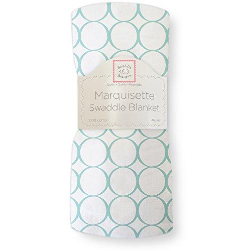 SwaddleDesigns Marquisette Swaddling Blanket, Pastel Mod Circles, SeaCrystal - 1