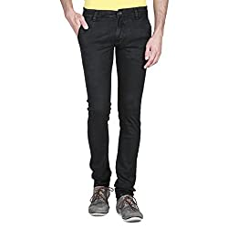 Mens Slim Fit BLACK Stretch Denim Jeans For Men Size 34