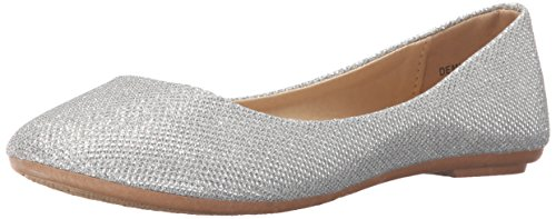 REFRESH DEMI-07 Women's Glitter Shinny Ballerina Ballet Slip On Flats,8.5 B(M) US,Silver