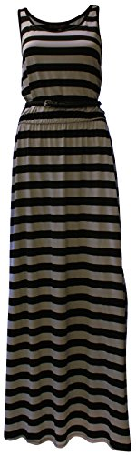 Fever Ladies' Belted Maxi Dress (Medium, Grey/Silver Black Stripe)