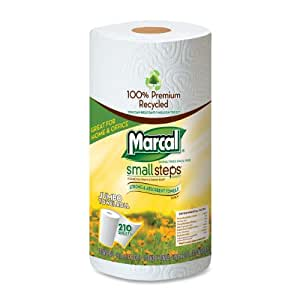 """Marcal 6210 Small Steps Premium 100% Recycled Jumbo Paper Towel Roll, 2-Ply, 9"""" Width x 11"""" Length, White, 210 Sheets per Roll (Pack of 12)"""