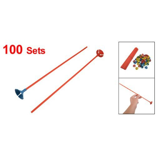 TOOGOO(R) Party Favours Red Balloon Sticks w Multicolored Cups 100 Pcs