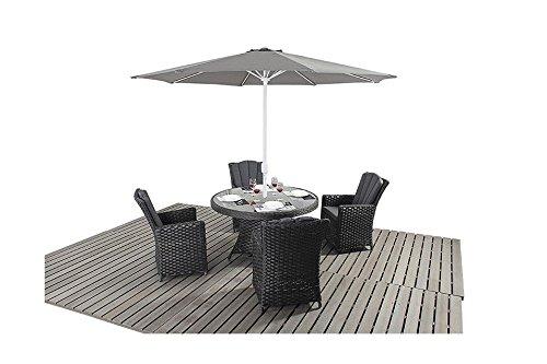 Manhattan Schwarz Rattan Garten Möbel 4-Sitzer-rund Esstisch Stühle, Set jetzt bestellen