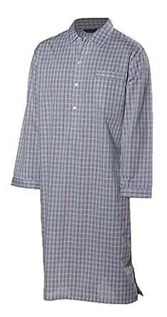 Lloyd Attree & Smith - chemise de nuit homme, doux et confortable - 100% coton - carreaux bleu / beige / marron (L)