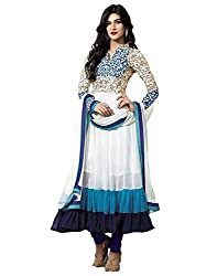 Krishna Emporia Women's White Salwar Suit Dupatta Dress Material (kriti sanon dresses)
