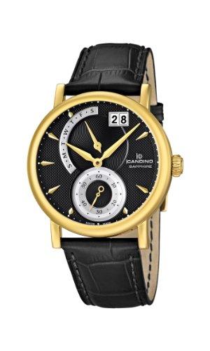 Candino C4486-3 C4486/3 - Reloj analógico de cuarzo para hombre, correa de cuero color negro
