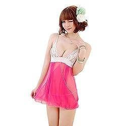 JKFs Women's Pink Solid Gauze Babydoll Nightwear