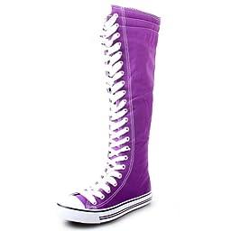 West Blvd Womens SNEAKER Boots Knee High Lace Up Flat Punk Canvas Skate Shoes, Purple Linen, US 6