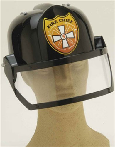 Adult Fire Chief Helmet Black Man Hat Costume Accessory [Toy]