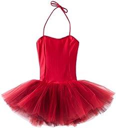 Sansha Little Girls\' Shirley Leotard w/ Tutu, Red ,Intermediate(D)/6-8