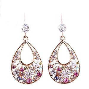 E821 Charme glänzende Ohrringe, CZ Diamond Drop Form Aussehen, Mode-Shake-Farben-Ohrringe mit Ohrbügel, nette lange Ohrringe für Damen