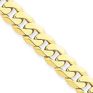 7.25mm, 14 Karat Yellow Gold, Beveled Curb Chain - 24 inch