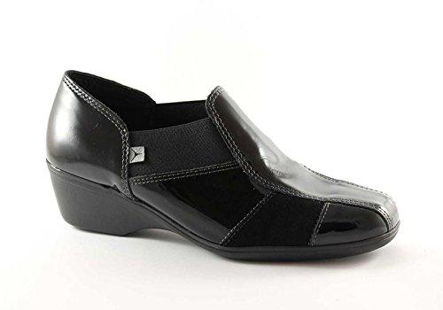 CINZIA SOFT 651 nero scarpe donna comfort tipo pantofola zeppetta 38