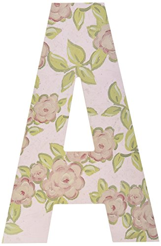 The Kids Room by Stupell Pink Roses on Pink Hanging Wall Initial, A