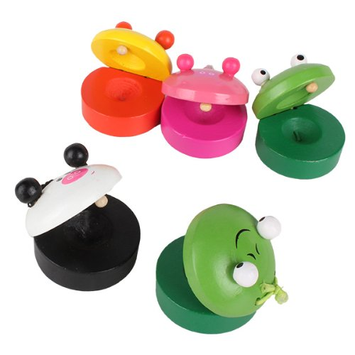 Baby Infant Wooden Cartoon Animal Round Castanet Musical Toy Gift Pack Of 5 front-207589