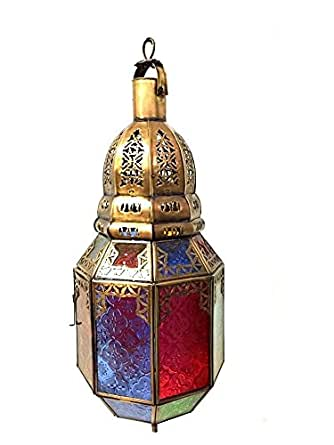 Moroccan Hanging Pendant Lantern Carved Brass Finish Stained Glass Lamp Copp