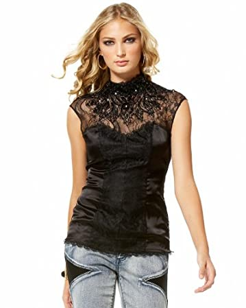 bebe Embellished Lace Sleeveless Top from bebe.com