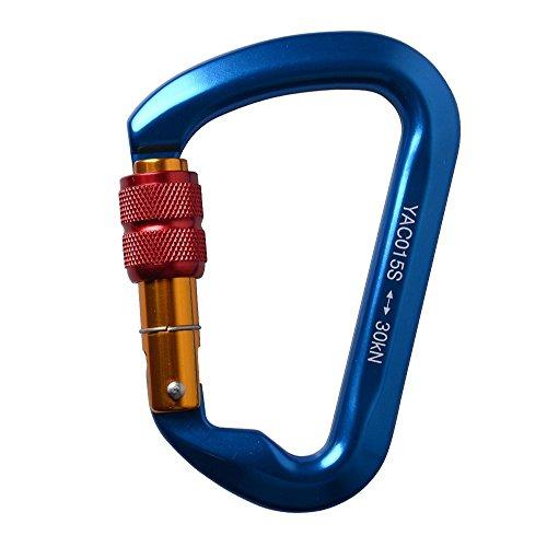 DiDaDi D型カラビナ オートロック/スクリューロック 登山用 Climbing lock 使用便利 もっと軽いもっと強い (ブルー)