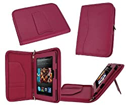 rooCASE Executive Portfolio (Magenta) Leather Case Cover with Landscape / Portrait View for Amazon Kindle HD 7 Inch Tablet - Support Landscape / Portrait / Auto Sleep and Wake