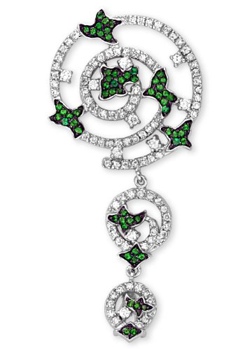 Emerald Floral On A Graduating Hanging Circles Filled With Clear C.Z. On Rhodium Sterling Silver Pendant (Nice Holiday Gift, Special Black Firday Sale)